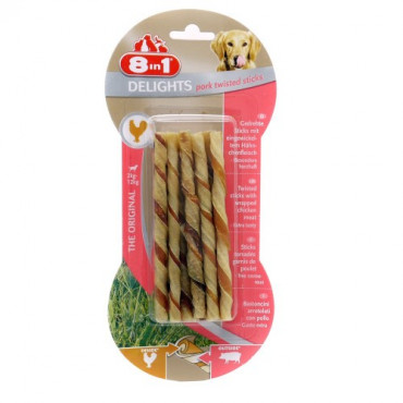 8in1 Delights Pork Twisted Sticks (10un.)