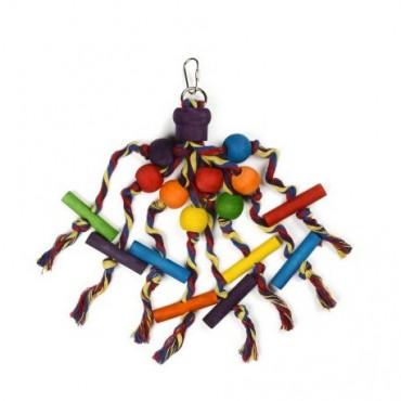 Brinquedo Madeira & Cordão Periquitos 20cm