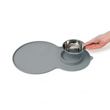 Catit - Base de Silicone 45x30cm (cinza) + Comedouro Inox