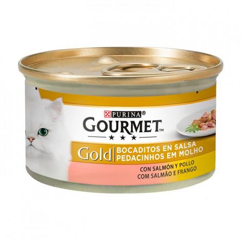 Gourmet Gold Salmão & Frango 85gr (Pedacinhos em Molho)
