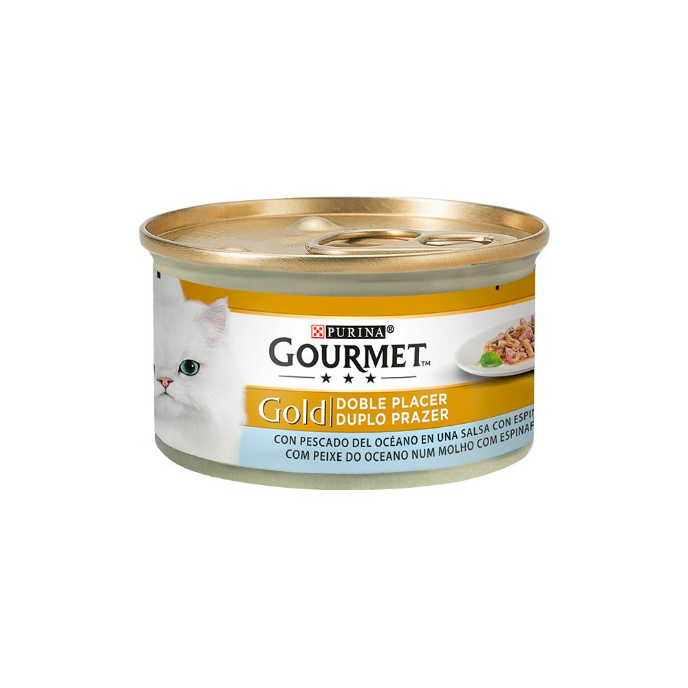 Gourmet Gold Peixe do Oceano & Espinafres 85gr (Duplo Prazer)