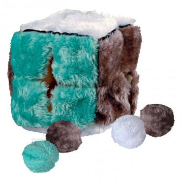 Cubo em Peluche c/ 4 Bolas de Catnip
