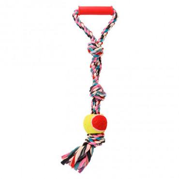 Corda Multicolorida com Pega e Bola Ténis