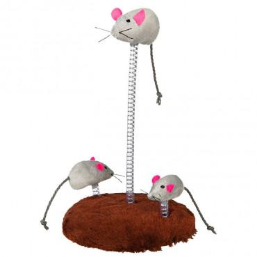 Família de Ratos em Peluche c/ Base e Mola