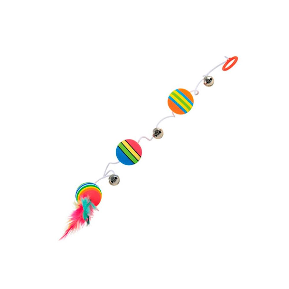 Três Bolas ARCO-ÍRIS c/ Elástico, Penas e Guizo