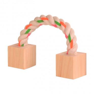 Corda com Cubos em Madeira