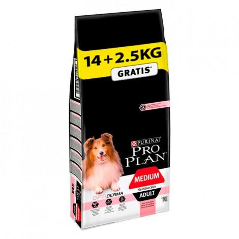 Pro Plan Optiderma Sensitive Skin Cão Medium Adulto - Salmão - 14kg + 2,5kg OFERTA