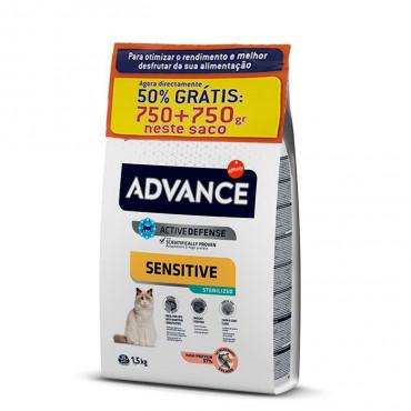 Advance Sensitive Sterilized Gato adulto - Salmão | 750 + 750 g Grátis