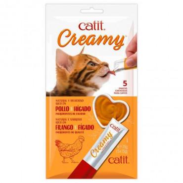 Catit - Creamy Snack Líquido de Frango e Fígado 5x15gr