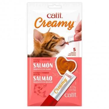 Catit - Creamy Snack Líquido de Salmão 5x15gr