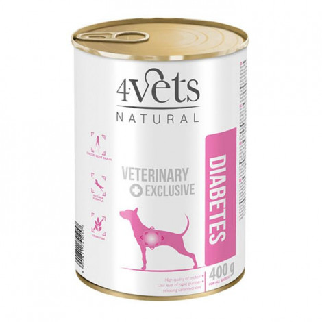 4Vets - Veterinary Diet Diabetes 3 Latas + 1 Lata OFERTA