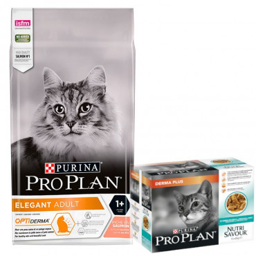 Pro Plan Cat - Elegant 3kg + OFERTA 1 Pack Nutrisavour DermaPlus