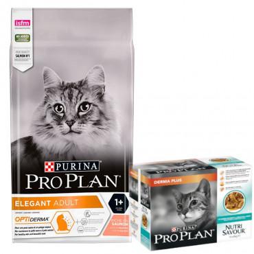 Pro Plan Cat Elegant Optiderma 3kg + 1 Pack Nutrisavour DermaPlus OFERTA