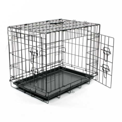 Duvo+ Jaula Transportadora Preta Dog Crate c/ 2 Portas