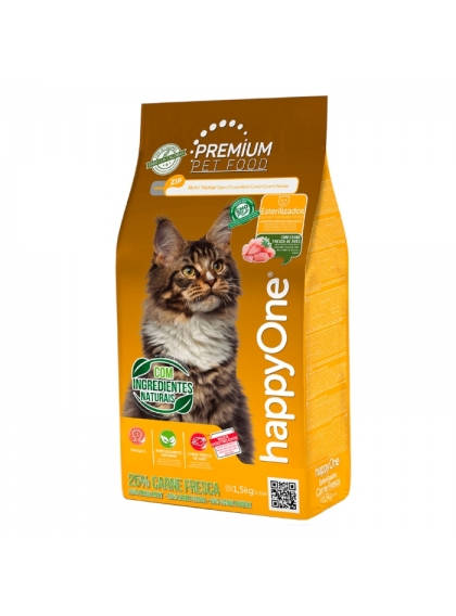 happyOne Premium Gato Esterilizado Carne Fresca 1.5kg