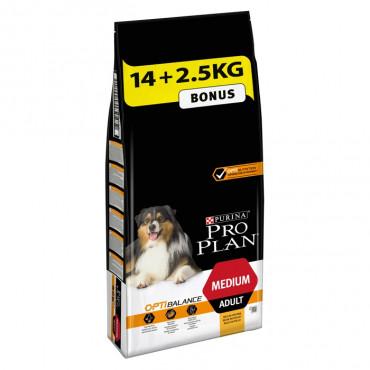 Ração para cão Purina Pro Plan Medium Adult 14+2,5kg Oferta