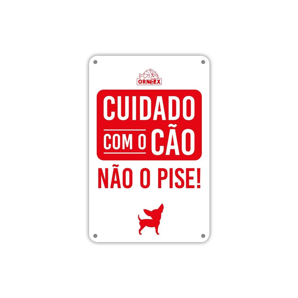 """Placa PVC """"Cuidado com o cão Não o pise!"""""""