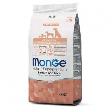 Monge Cão Puppy & Junior Salmão e arroz