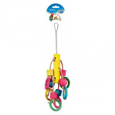 Duvo+ Brinquedo para aves Anéis e cubos de madeira