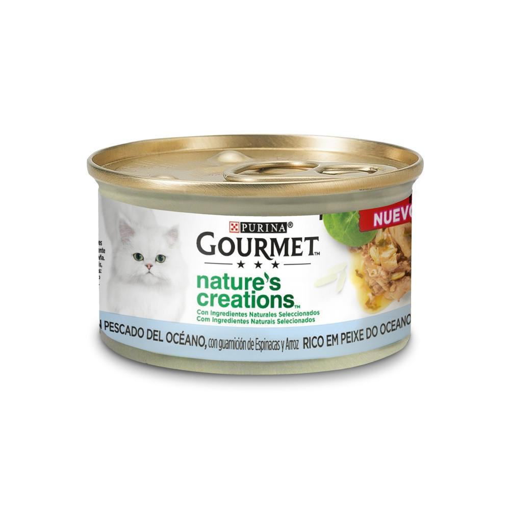 Gourmet Nature's Creations Gato Adulto Peixe do oceano, espinafres e arroz