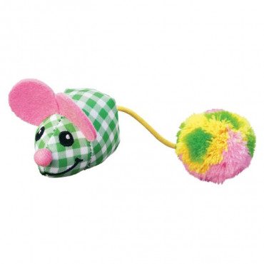 KONG CAT KITTEN POM TAIL MOUSE (ASSORTED COLORS)
