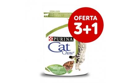 Cat Chow Sterilised Gato adulto Borrego e feijão verde em molho