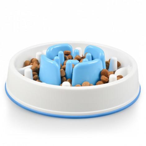 Duvo+ Comedouro anti-gulping azul para cães e gatos