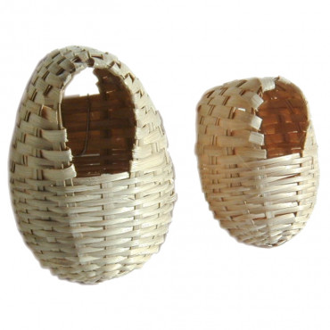 Ninho oval em bamboo para exóticos