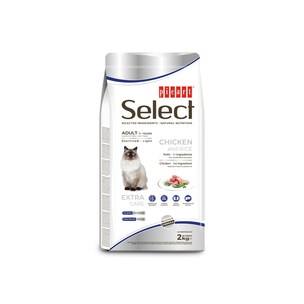 Picart Select Sterilised/Light +7 Gato adulto - Frango e arroz