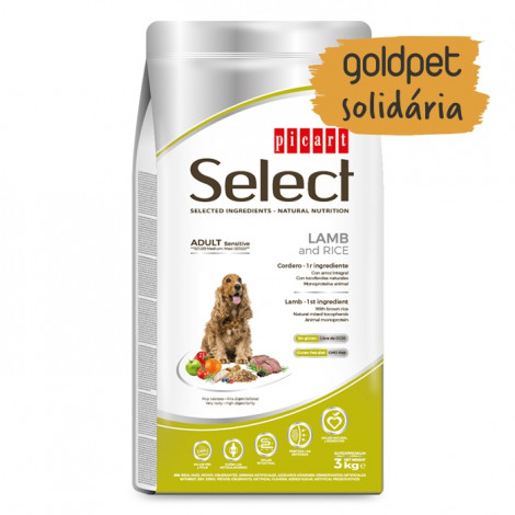 Goldpet Solidária - Picart Select Cão Adulto Sensitive - Cordeiro e arroz