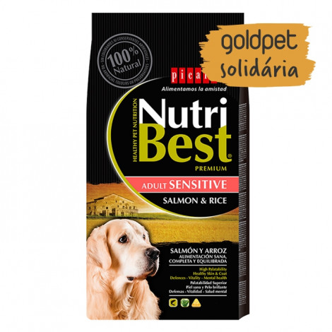 Goldpet Solidária - Picart Nutribest Sensitive Cão Adulto - Salmão e arroz