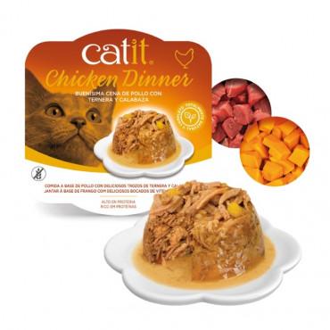 Catit Chicken Dinner - Alimento de frango, salmão e cenoura