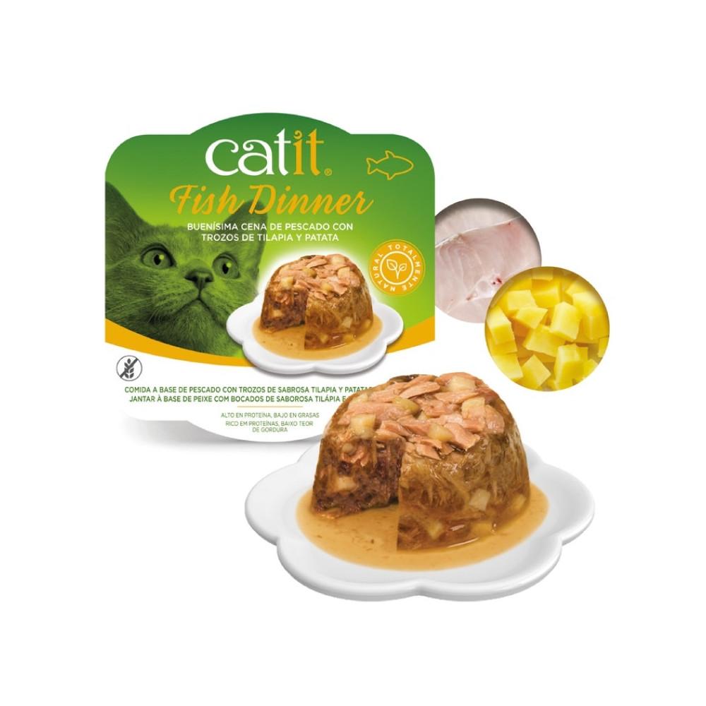 Catit Fish Dinner - Alimento de peixe, salmão e feijão