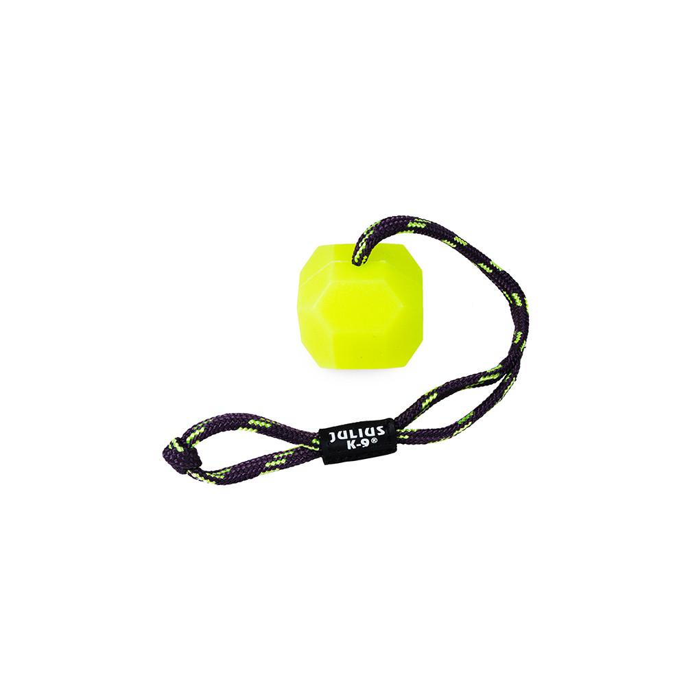 JULIUS K-9 Bola dura fluorescente com corda para cão