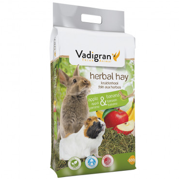 Feno natural com maçã e banana para roedores - Vadigran