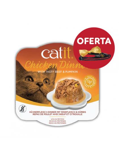 Catit Chicken Dinner - Alimento de frango, vitela e abóbora