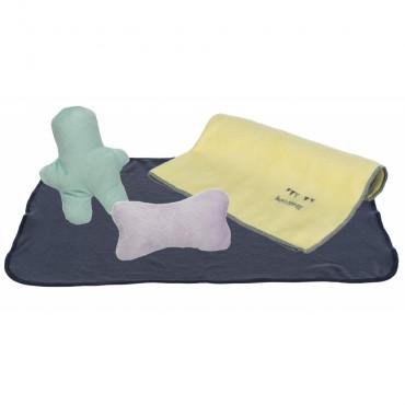 Junior Kit - Manta, brinquedos e toalha para cachorro