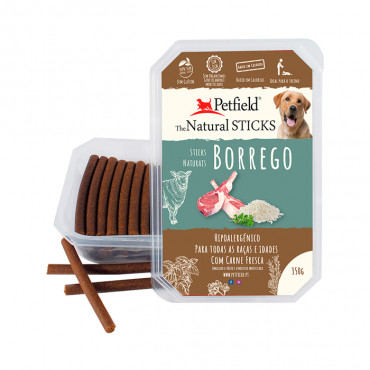 Petfield Natural Sticks para cão 350g – Borrego