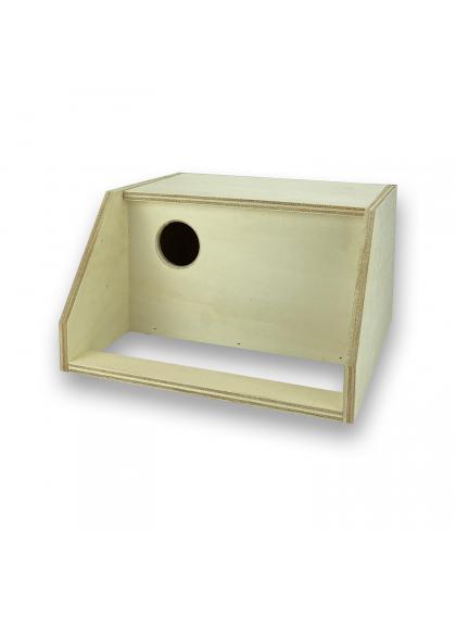 Ninho interior em madeira para agapornis