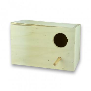 Ninho horizontal em madeira para periquitos ingleses