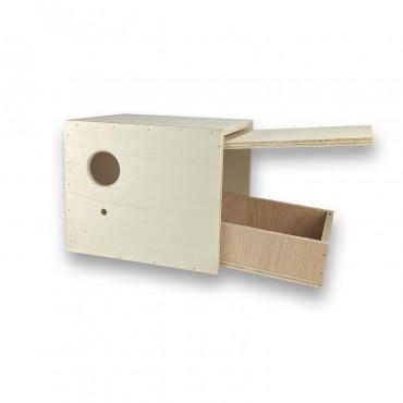 Ninho em madeira com gaveta para periquitos ingleses
