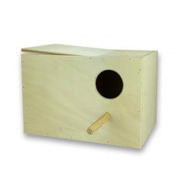 Ninho horizontal em madeira para caturras