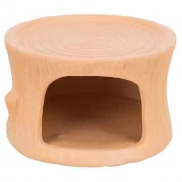Casa tronco em cerâmica para roedores