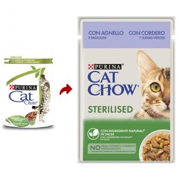 Cat Chow Sterilised Gato Adulto Borrego e feijão verde Húmida
